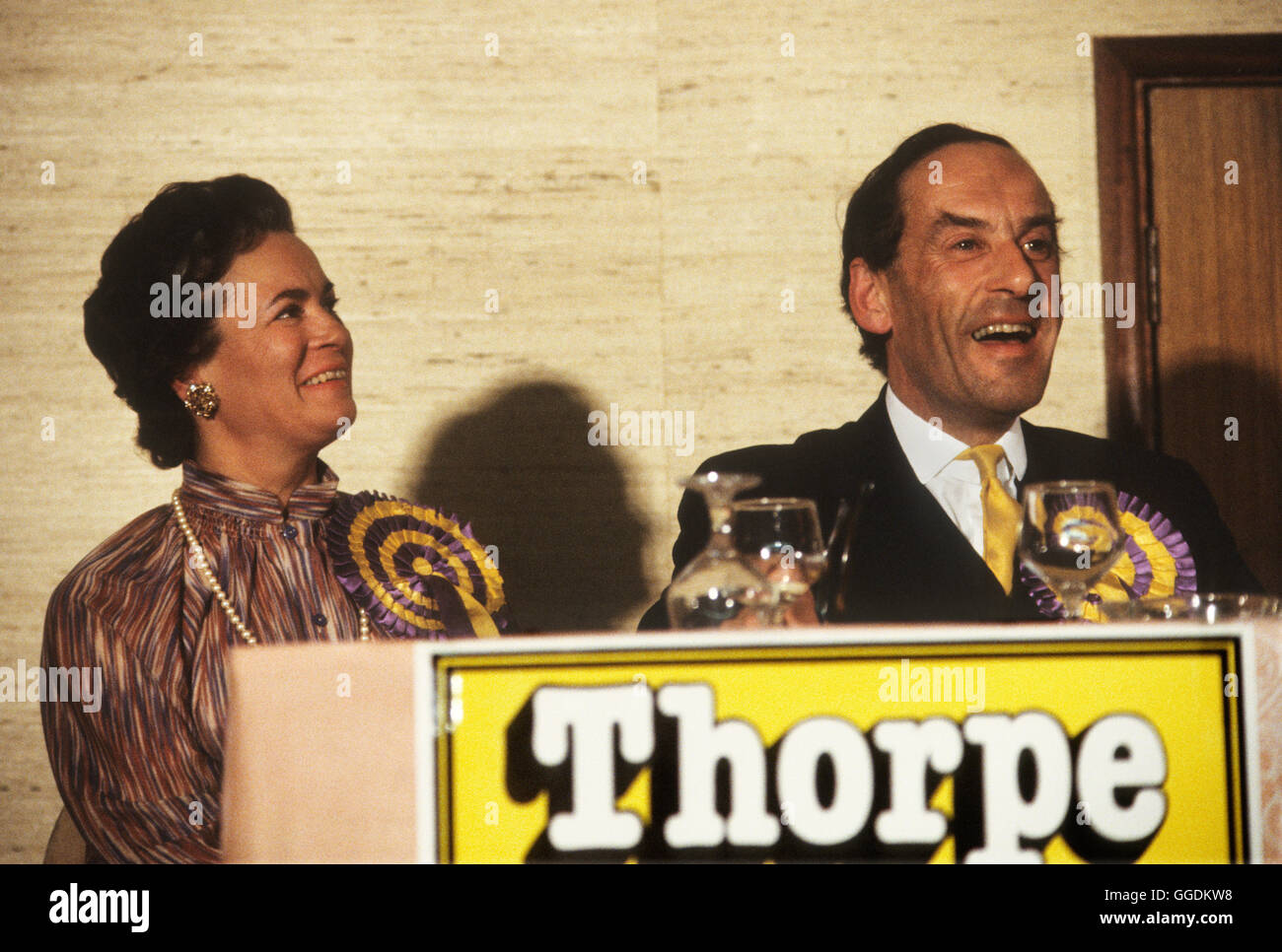 Jeremy Thorpe MP and wife Marion Thorpe portrait 1979 Devon 1970s UK HOMER SYKESStock Photo