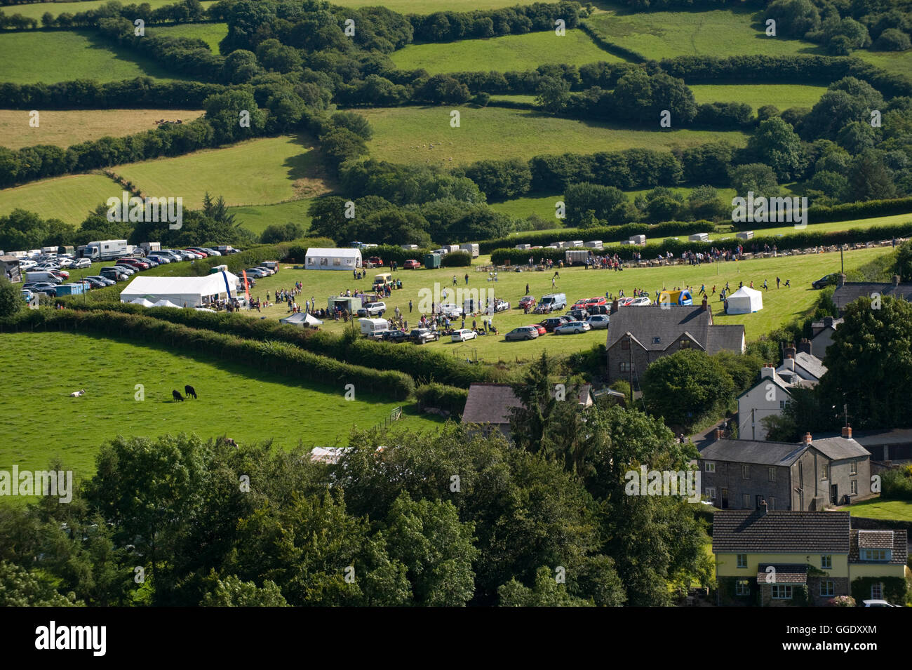View over Gwenddwr Show and village, Gwenddwr, near Builth Wells, Powys, Wales, UK Stock Photo