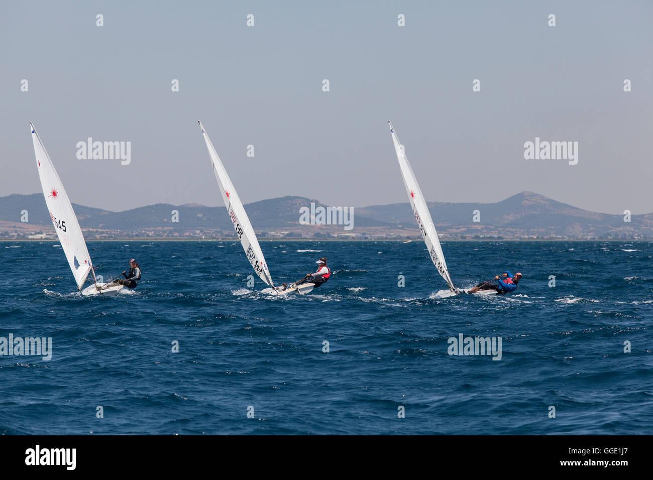 ALEXANDROUPOLI, GREECE - JULY 21: Sailing athletes at International Summer Regatta sailing action in Mediterranean - Stock Image