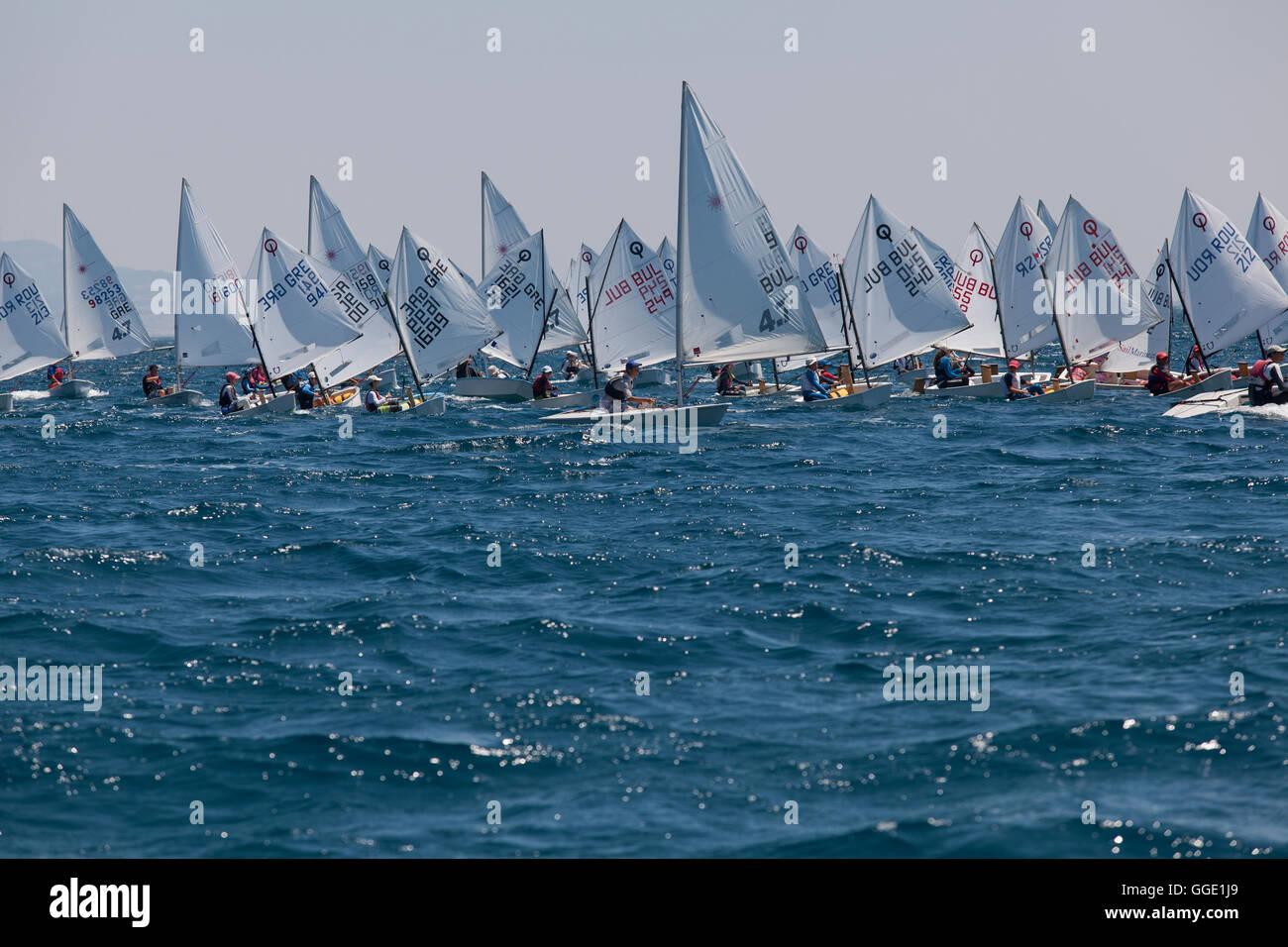ALEXANDROUPOLI, GREECE - JULY 21: An unidentified sailing athletes at International Summer Regatta sailing action - Stock Image