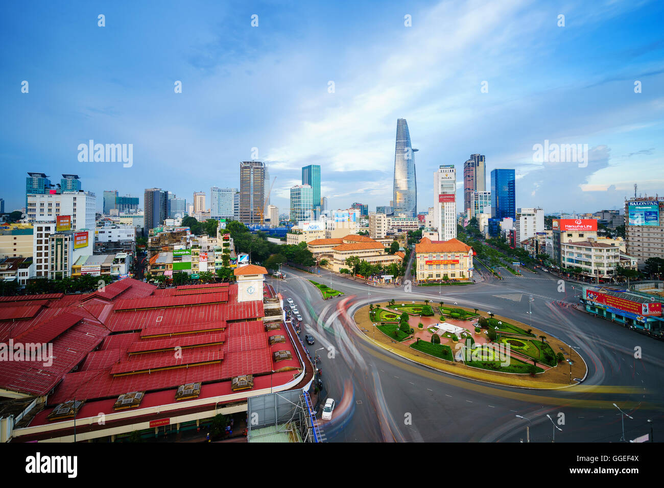 Impression, colorful, vibrant scene of Asia traffic, dynamic, crowded city with trail on street, Saigon, Vietnam Stock Photo