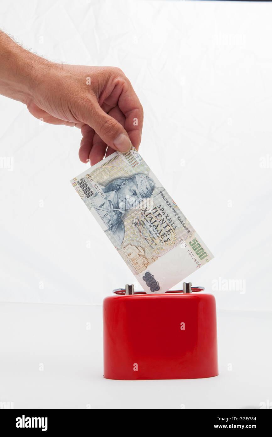 saving money in drachmas - Stock Image