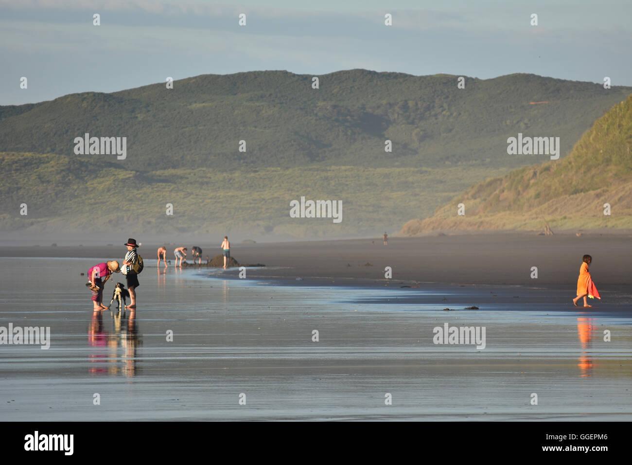 people beach low tide NZ Raglan - Stock Image