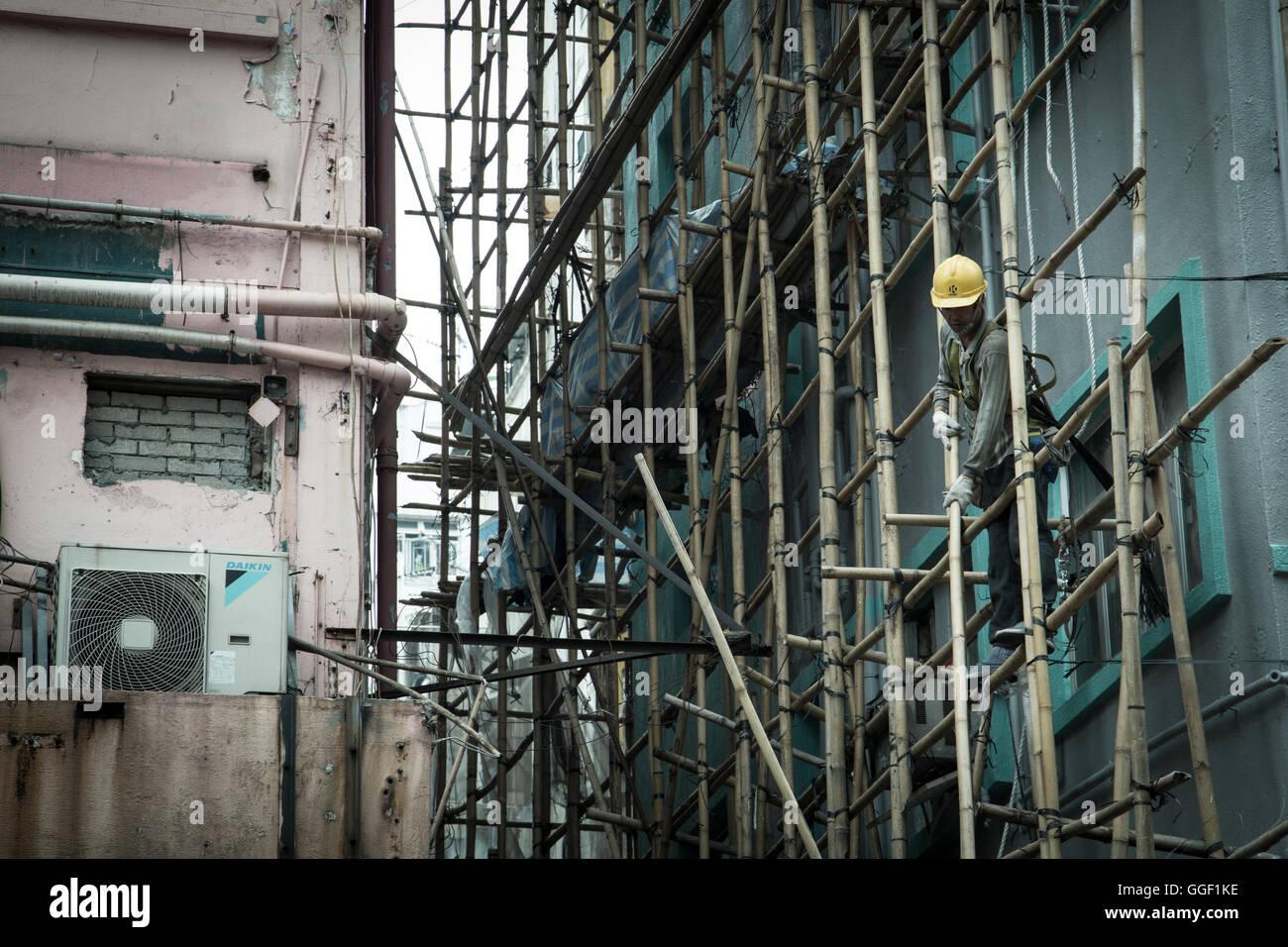 Traditional Bamboo Scaffolding Hong Kong - Stock Image