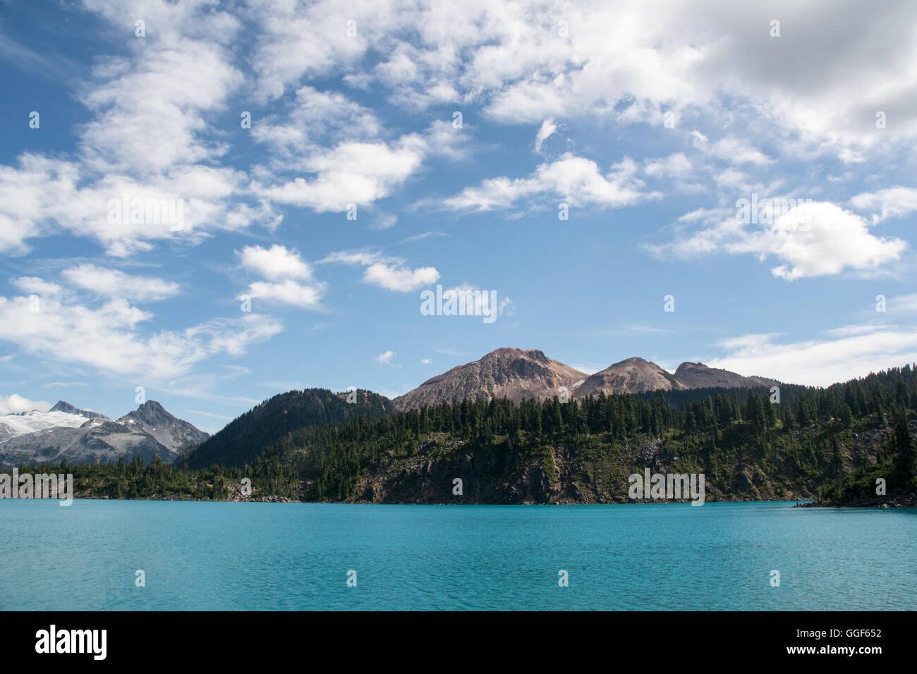 The blue waters of the glacial Garibaldi Lake, in the provincial park of the same name, British Columbia, Canada Stock Photo