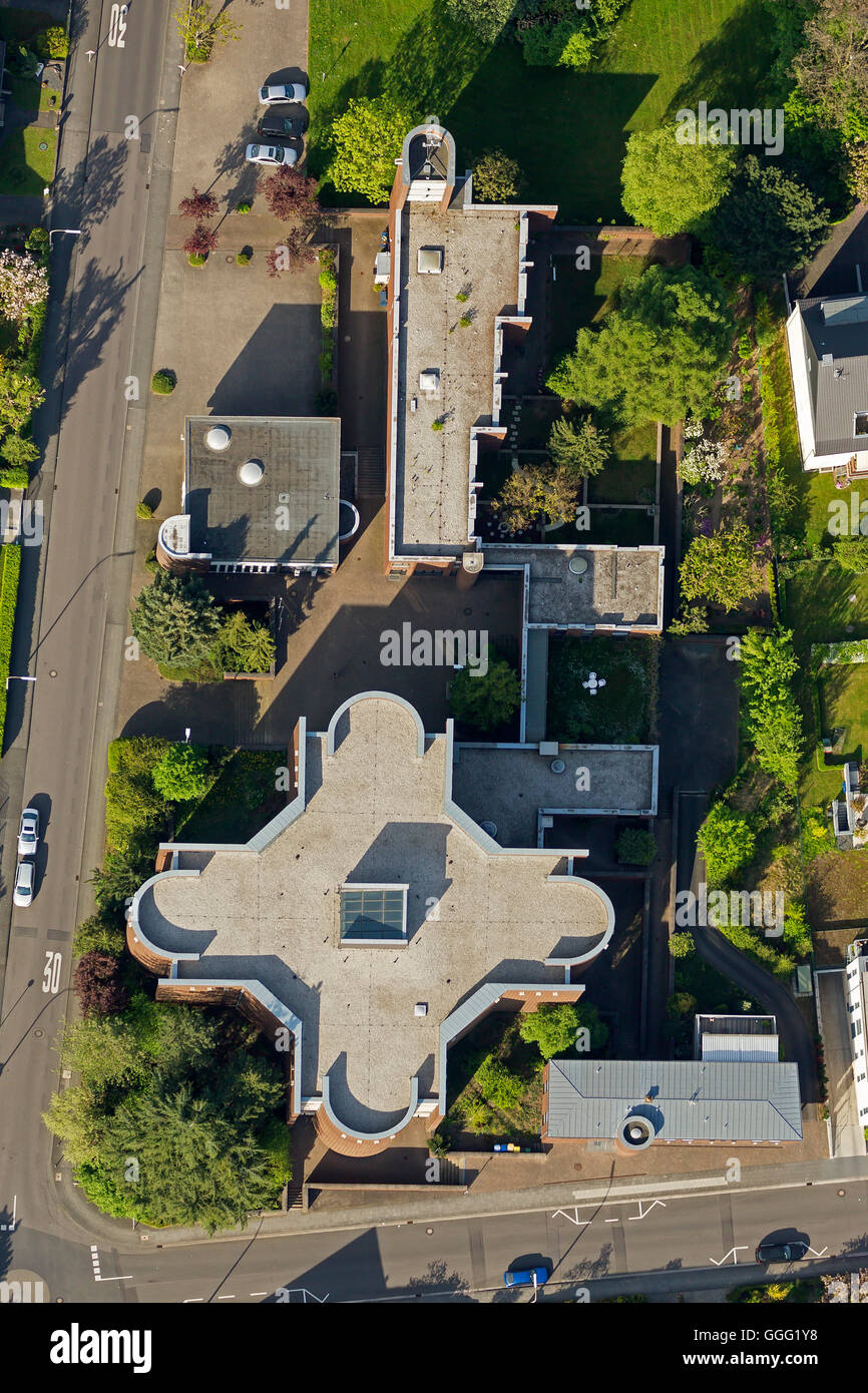 Aerial view, the city of Bonn Limperich Kreuzherren Street Church Holy Cross, Holy Cross Church, Limpericher Cathedral, - Stock Image
