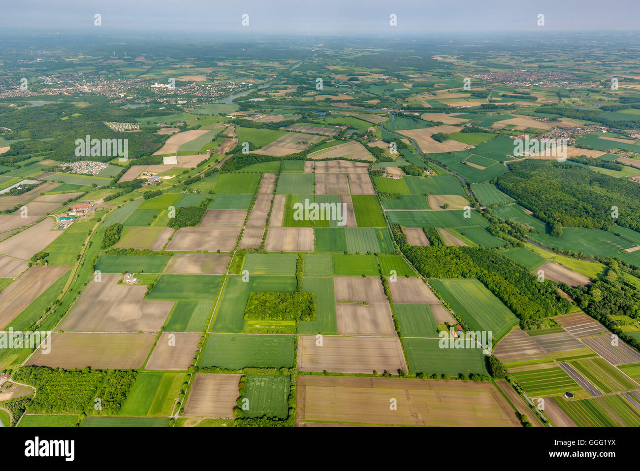 Aerial view, site newPark northeast of town Datteln, fields, meadows, farmland, agriculture, aerial view of Datteln, - Stock Image