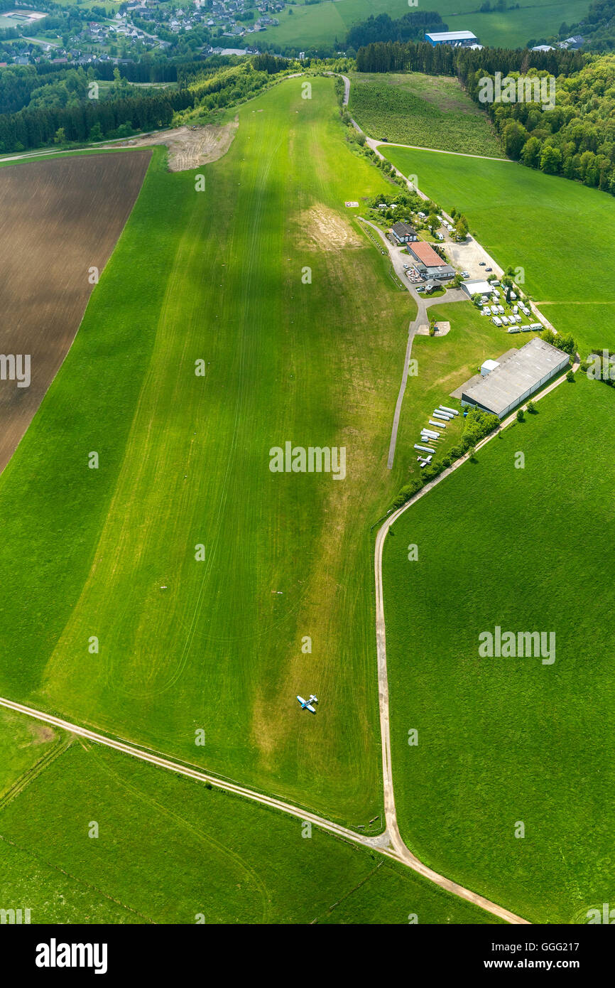 Aerial view, aerodrome, airfield, gliding terrain Bergneustadt on the Dümpel, Aerial view of Drolshagen, Sauerland, - Stock Image