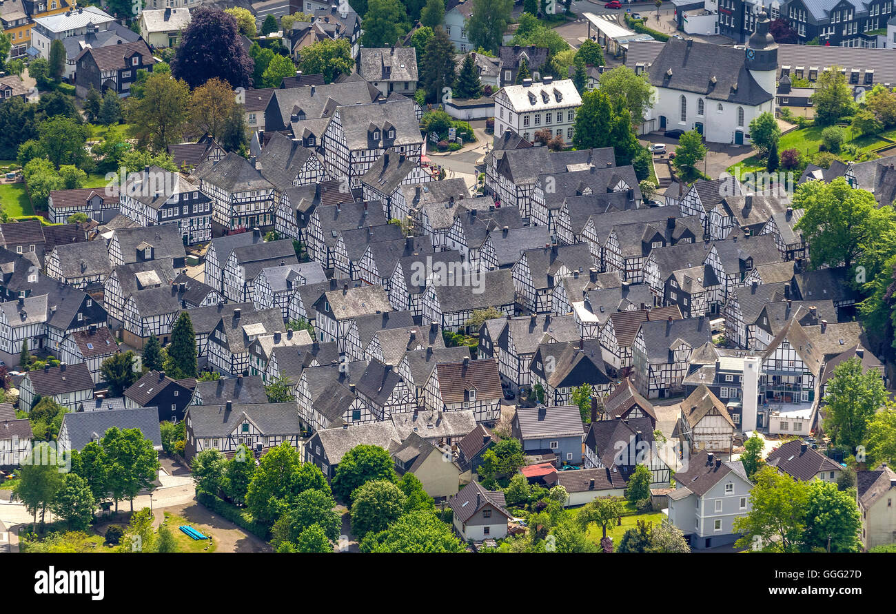 Aerial view, Am Alten stains, old stains, old town of Freudenberg, half-timbered houses, Aerial view of Freudenberg,, - Stock Image