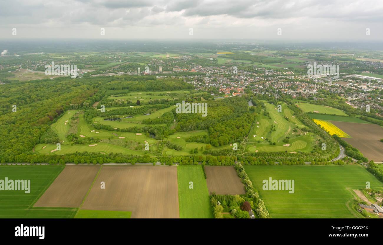 Aerial view, Golfclub Schloss Westerholt e.V., with Old village Westerholt, Aerial view of Herten-Westerholt, - Stock Image