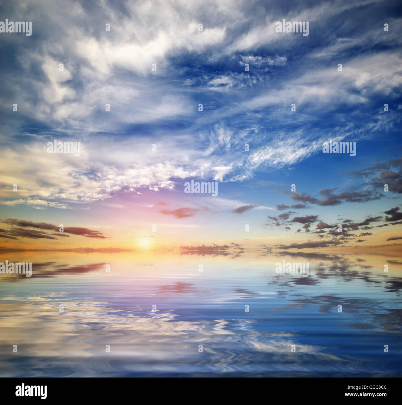 Beautiful seascape. Deep blue sky at sunny day. Sky background. - Stock Image