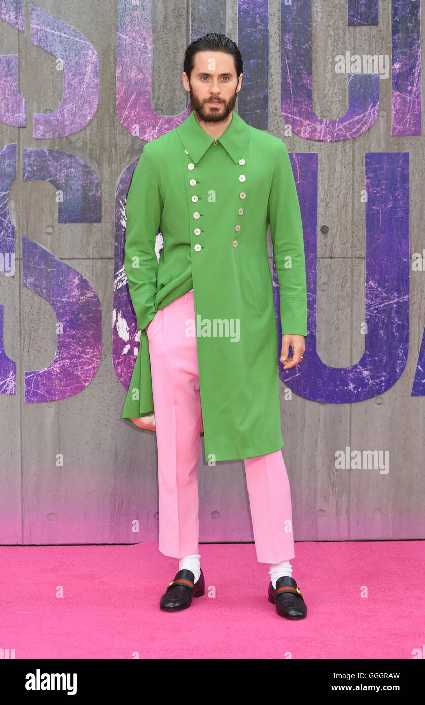 Jared Leto, The European Premiere of Suicide Squad,Odeon Leicester Square, London UK - Stock Image