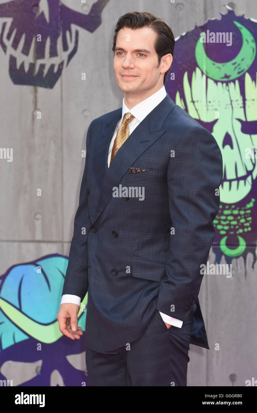 Henry Cavill,The European Premiere of Suicide Squad,Odeon Leicester Square,London UK - Stock Image