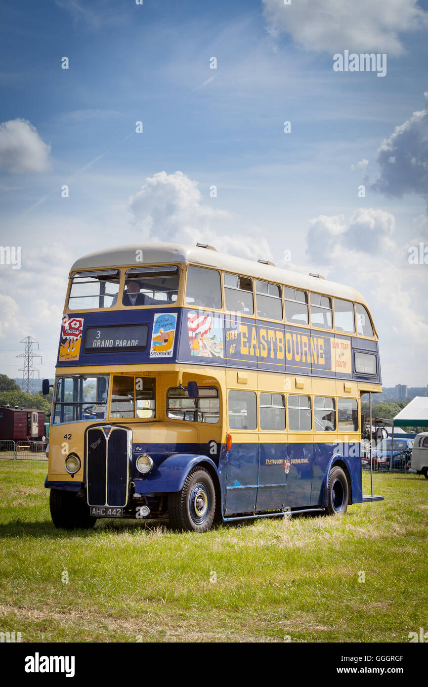 A restored 1951 AEC Regent III Double Decker Bus which entered service with the Eastbourne Corporation in 1951 - Stock Image