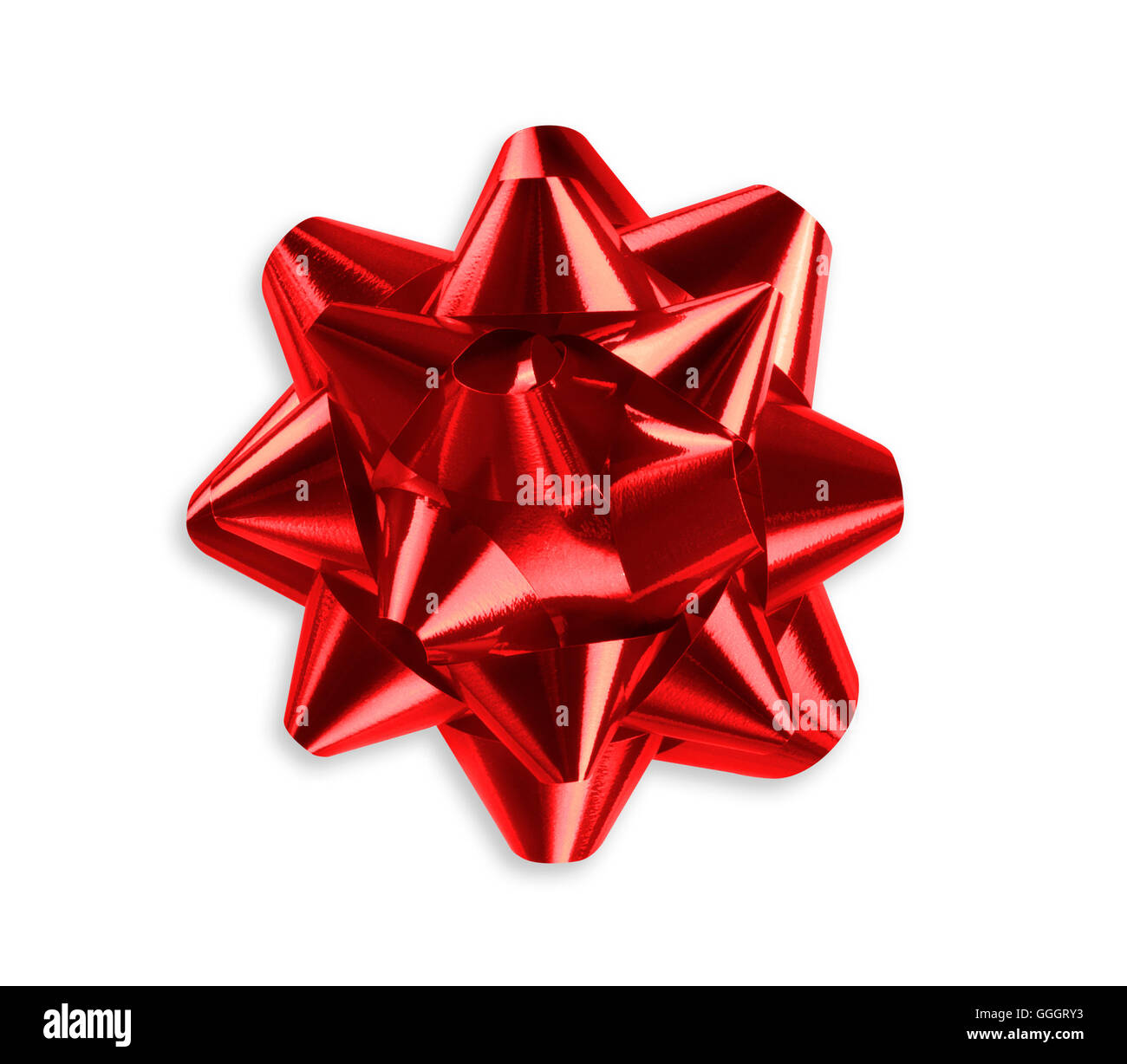 Red bow isolated on a white background - Stock Image