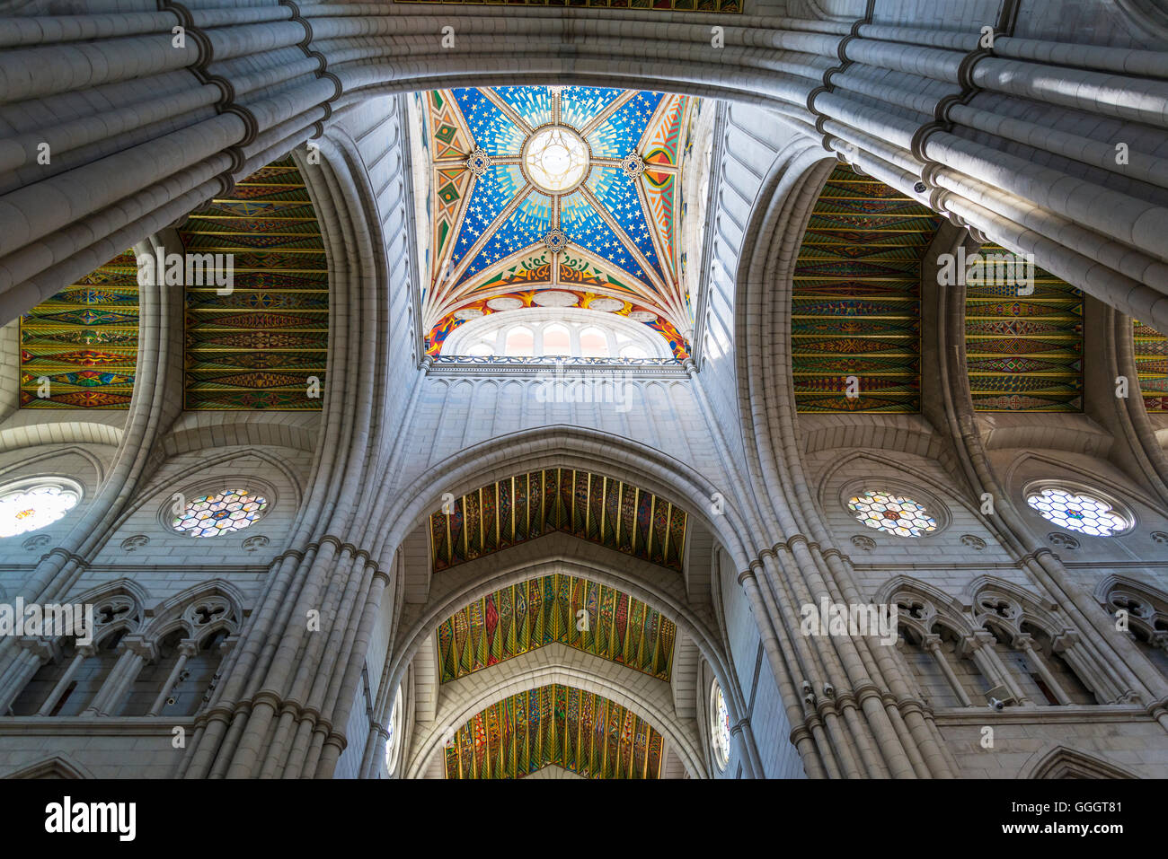 Almudena Cathedral, Square cupola of the cathedral, Madrid, Spain - Stock Image
