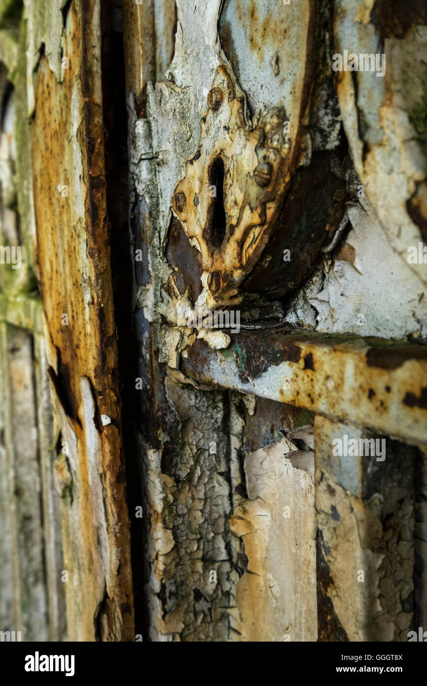 Rusty old wrought iron gate detail, close up, abstract, - Stock Image