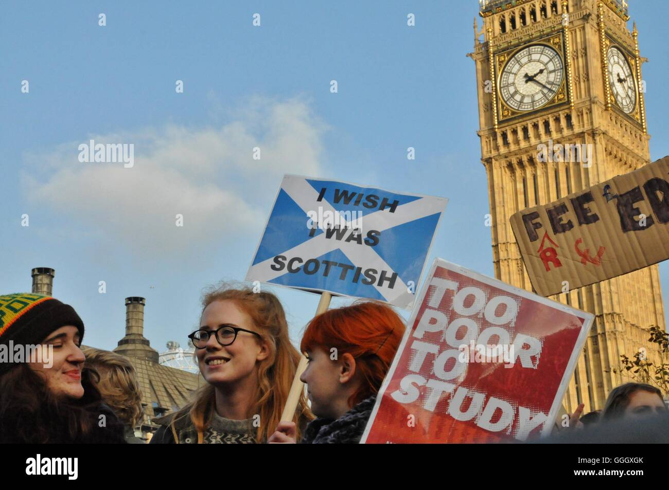 Students protest against the cuts to tuition fees in England and Wales. - Stock Image