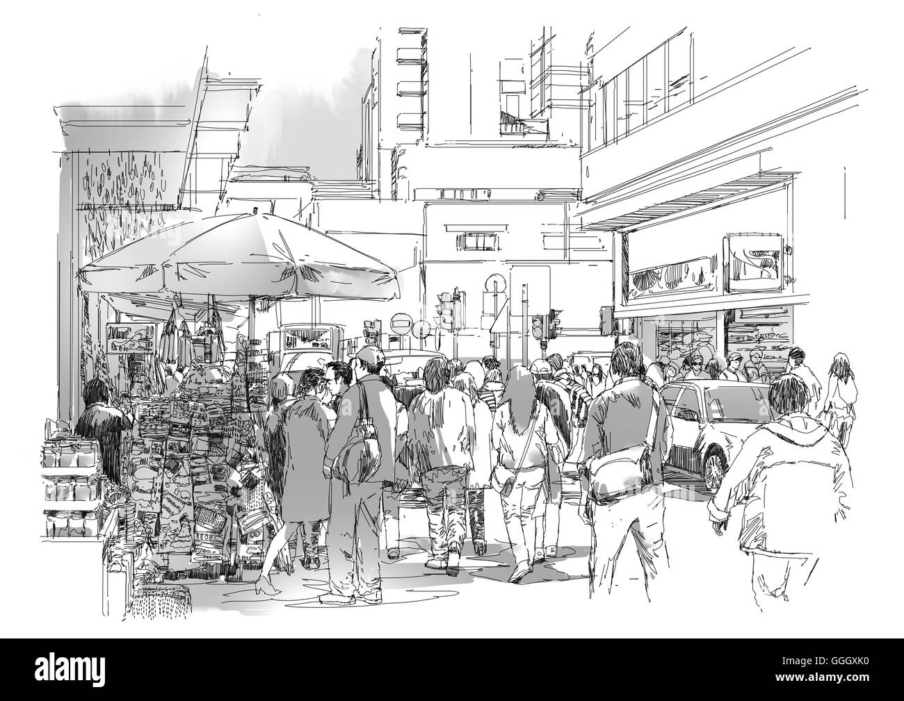 sketch of crowd of people in commercial and busy street - Stock Image