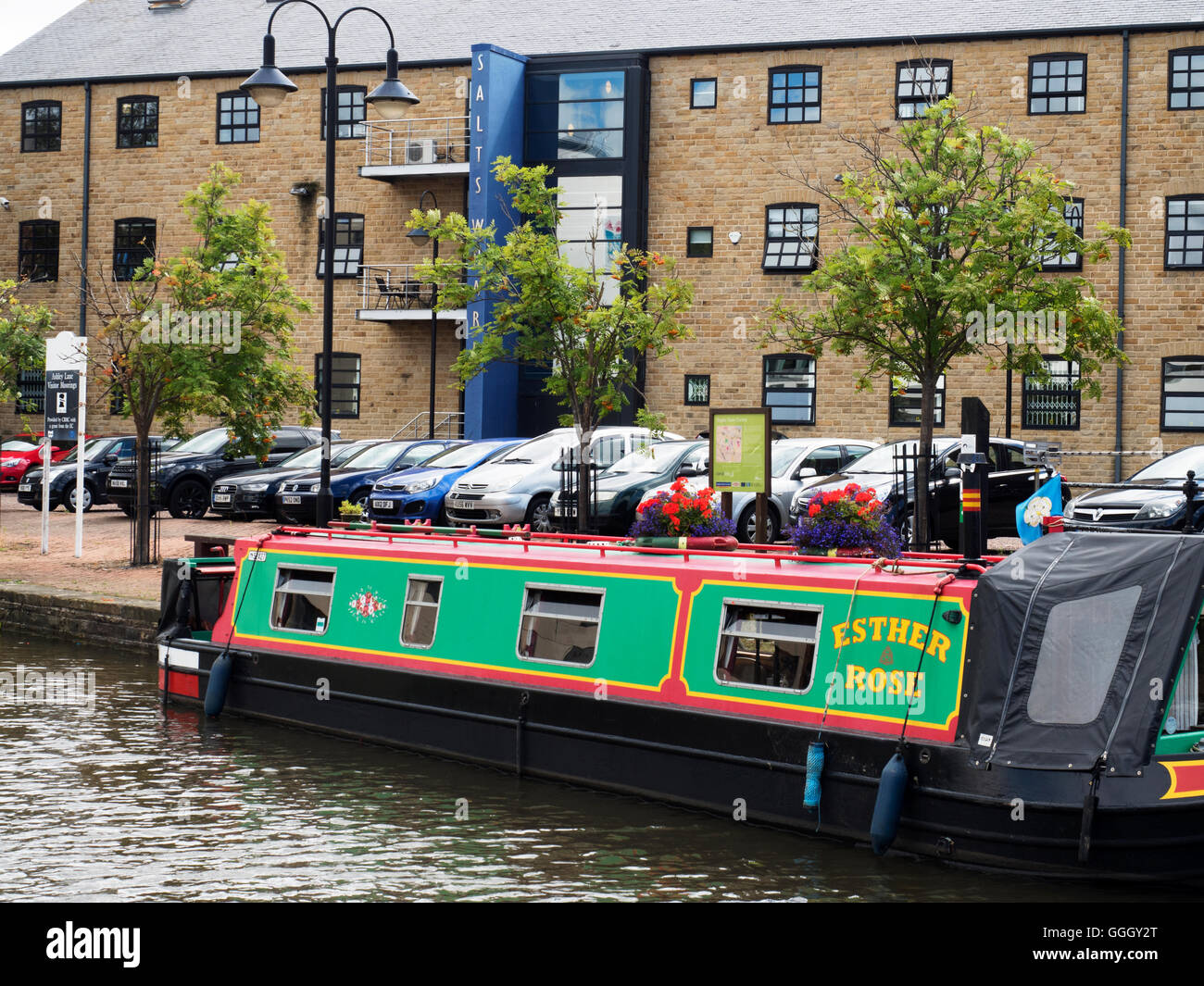 Narrowboat Moored at Ashley Lane Visitor Moorings Shipley West Yorkshire England - Stock Image