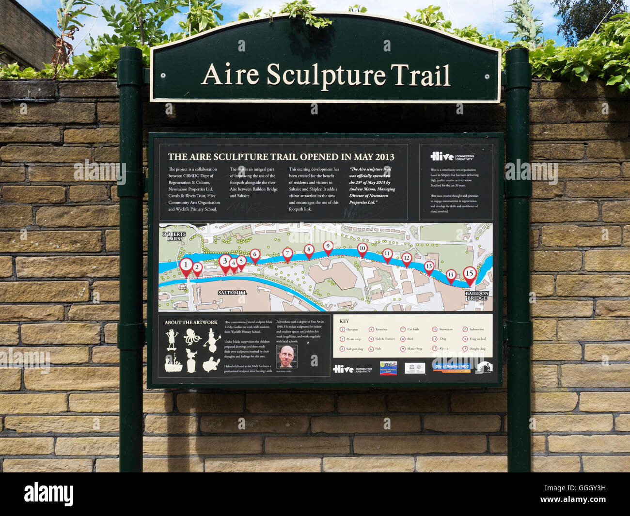 Aire Sculpture Trail Sign on the Leeds and Liverpool Canal Towpath at Saltaire West Yorkshire England - Stock Image