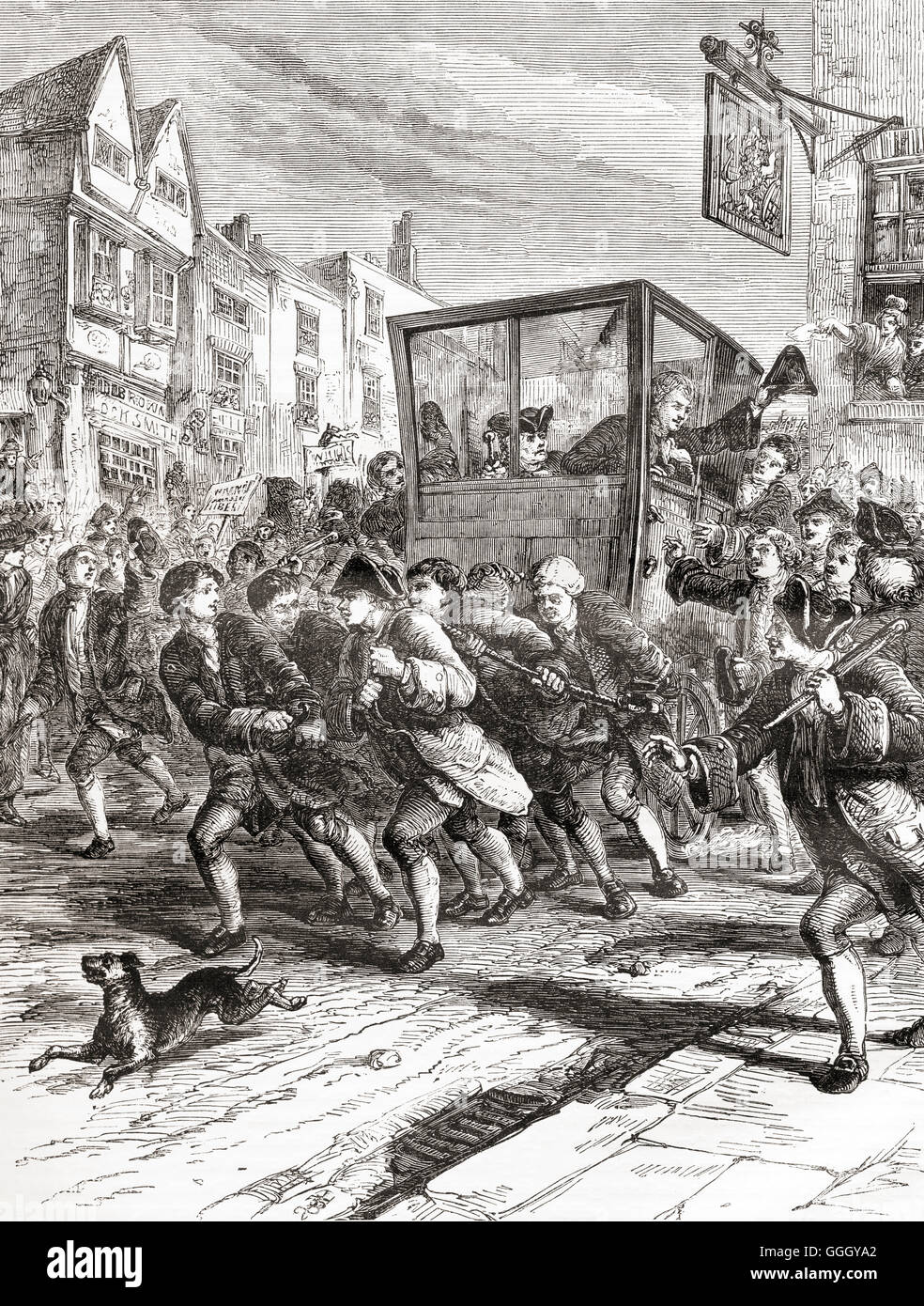 The triumphal entry of John Wilkes into the city of London after being elected member of parliament for Middlesex - Stock Image
