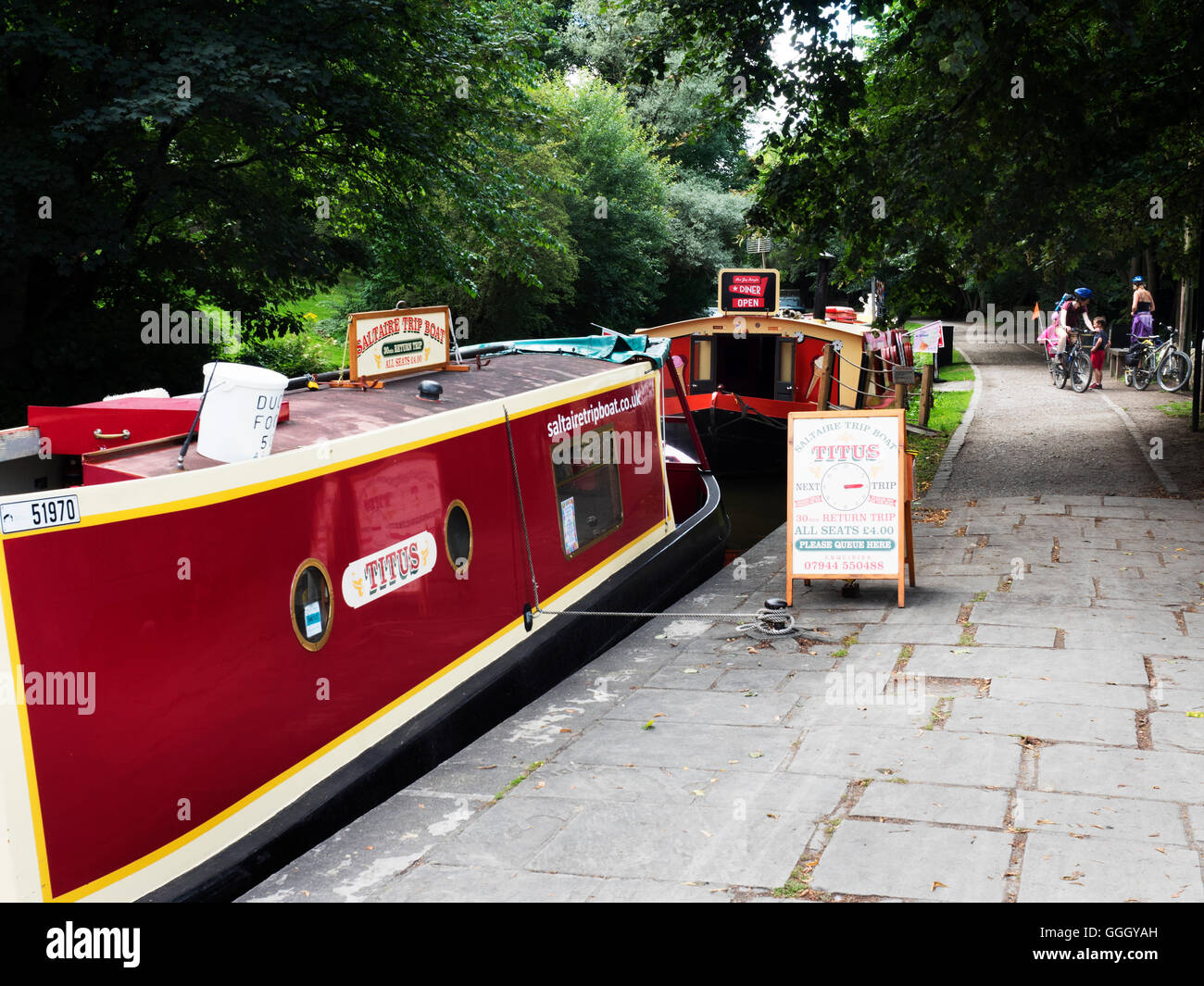 Saltaire Canal Trip Boat on the Leeds and Liverpool Canal at Saltaire West Yorkshire England - Stock Image