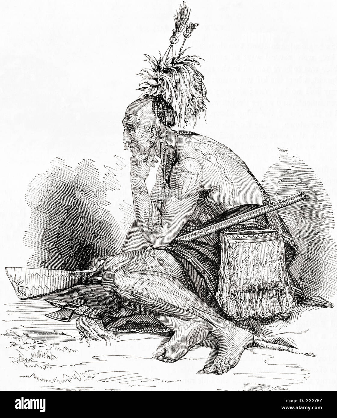 A Canadian Indian in the 18th century. - Stock Image