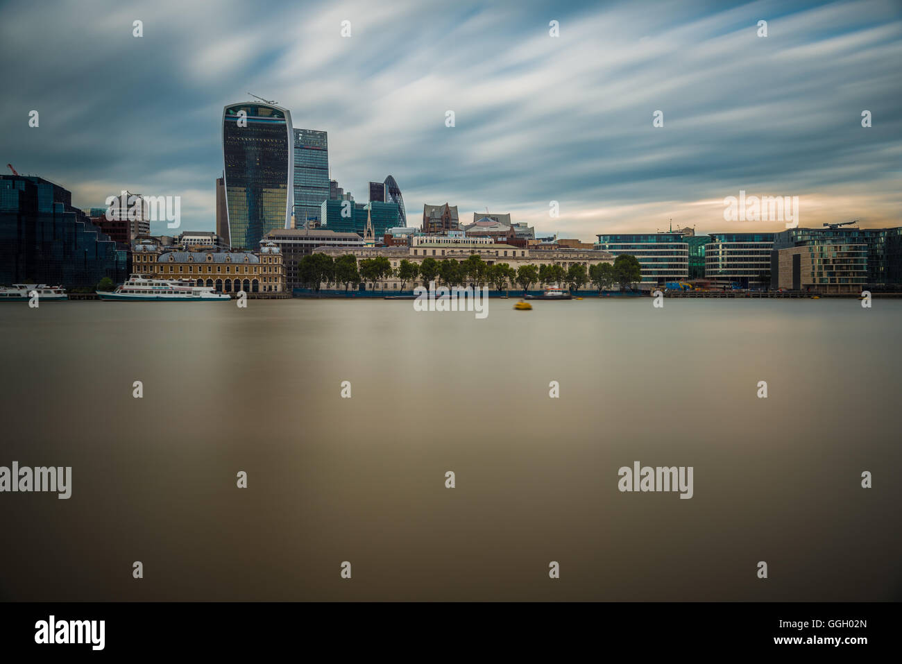 View of the City of London from across the Thames, London, United Kingdom - Stock Image