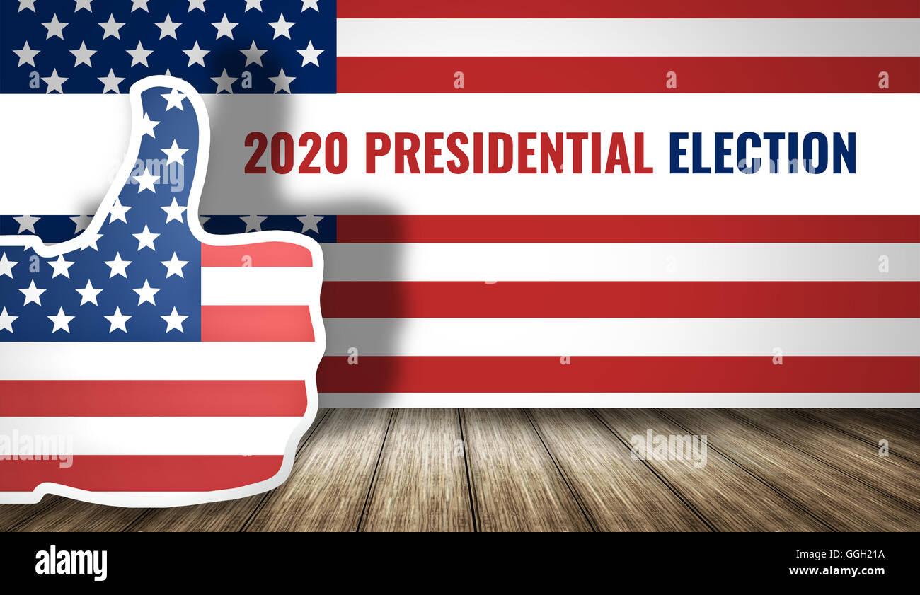2020 presidential election america flag 3d render Stock Photo