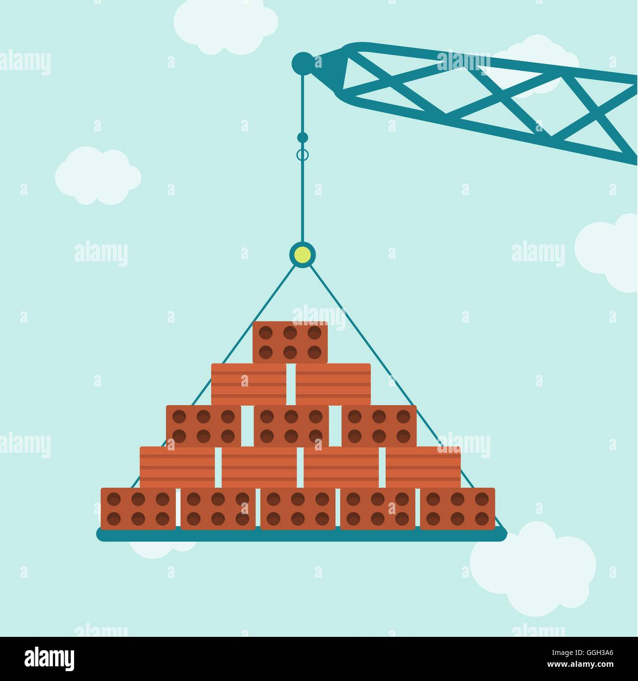 Crane carrying bricks. Blue sky in the background. - Stock Vector