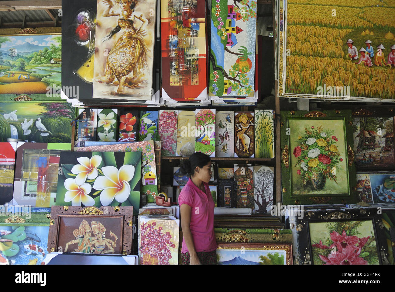 Paintings for sale in Ubud market, ubud, Indonesia. The Ubud Art Market, locally referred to as 'Pasar Seni - Stock Image
