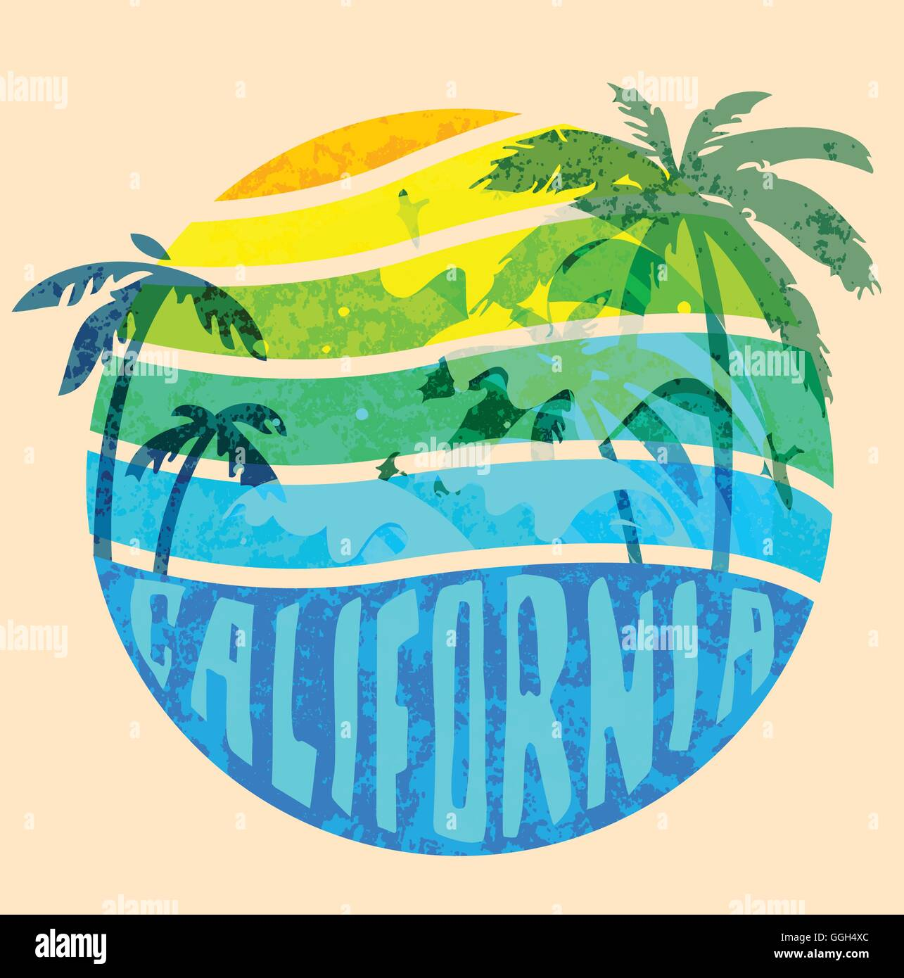 California Beach Typography Graphics T Shirt Printing Design For