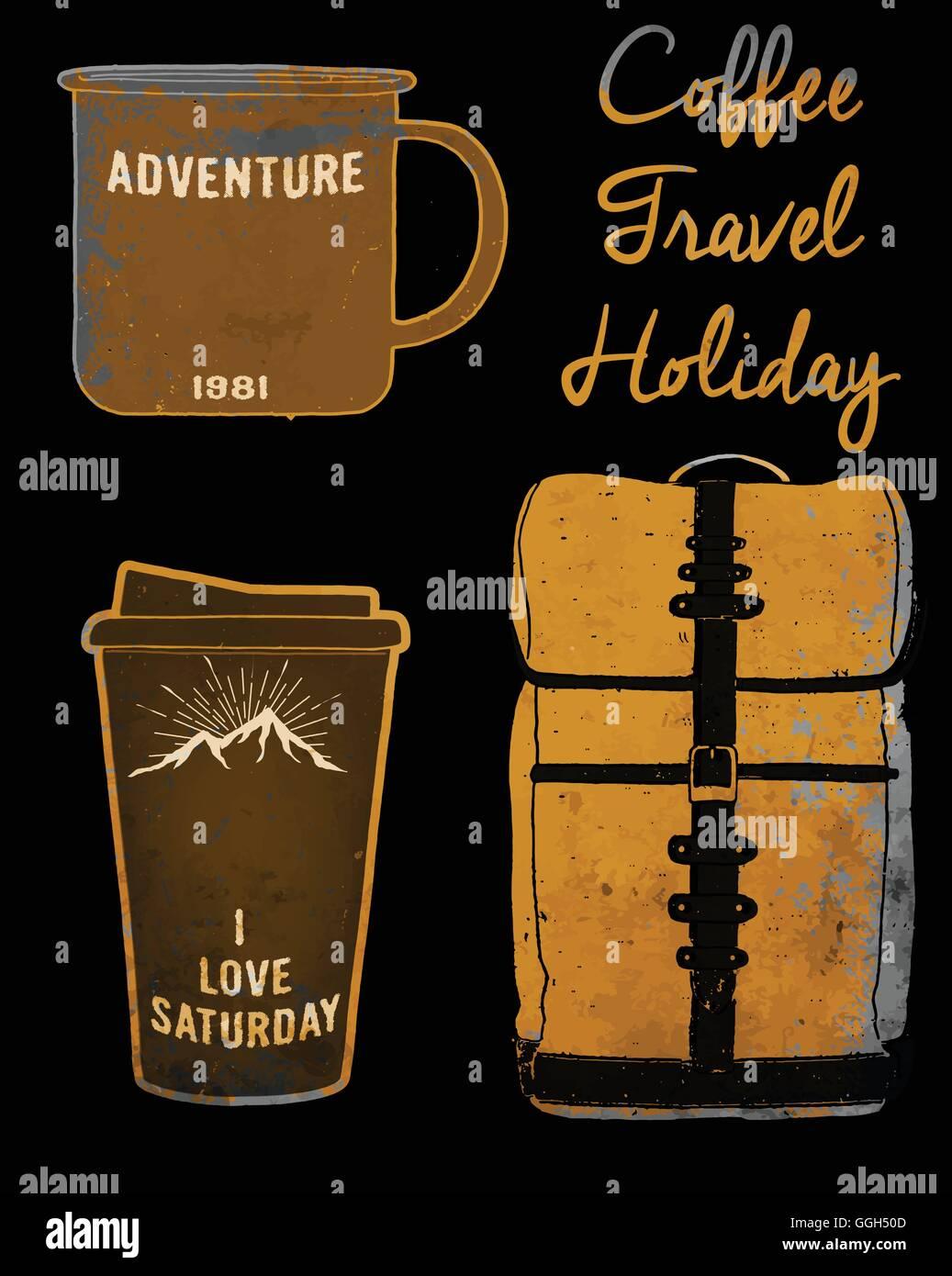 Holiday set coffee mug and bag tee graphic design vintage style - Stock Vector