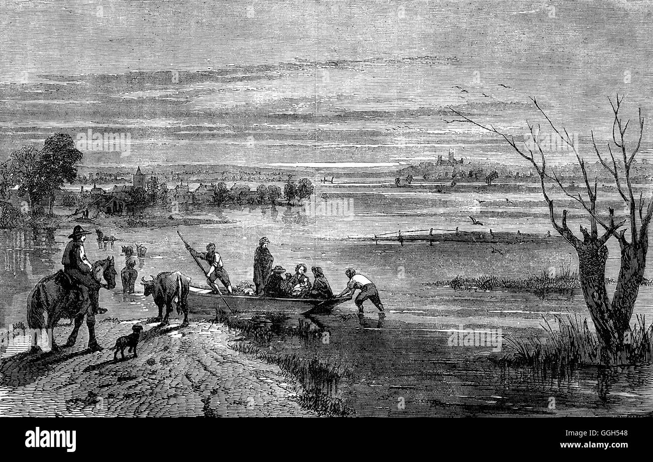 The Lincolnshire  Fens in the 19th Century, between Gainsborough and Lincoln is also known as  Fenland. It is a - Stock Image