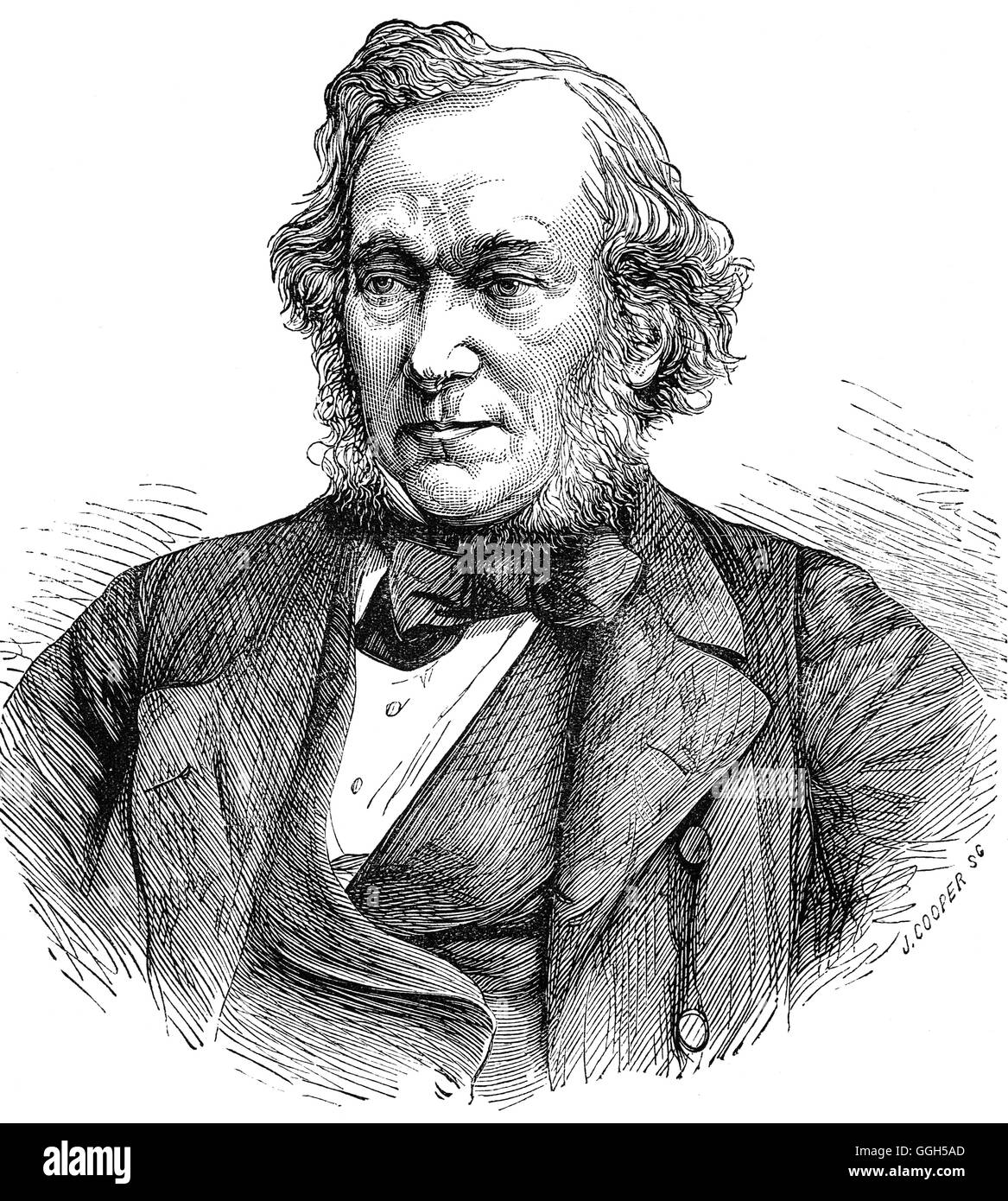 Richard Cobden (1804 – 1865) was an English manufacturer and Radical and Liberal statesman, associated with two - Stock Image
