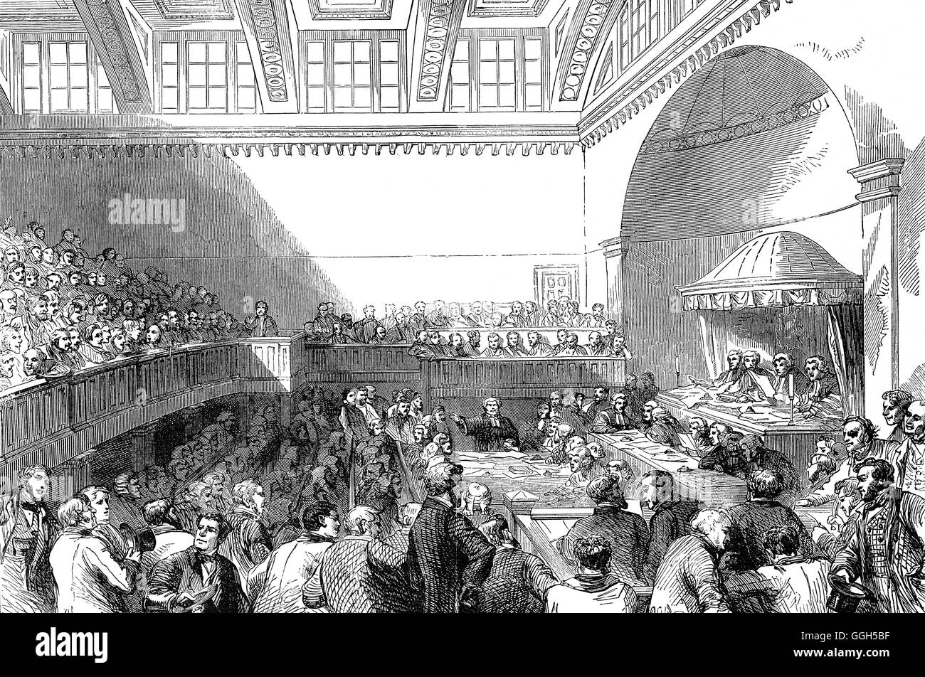 State trials of Daniel O'Connell and others in Dublin on charges of conspiracy in the Dublin Four Courts.  Sentenced - Stock Image