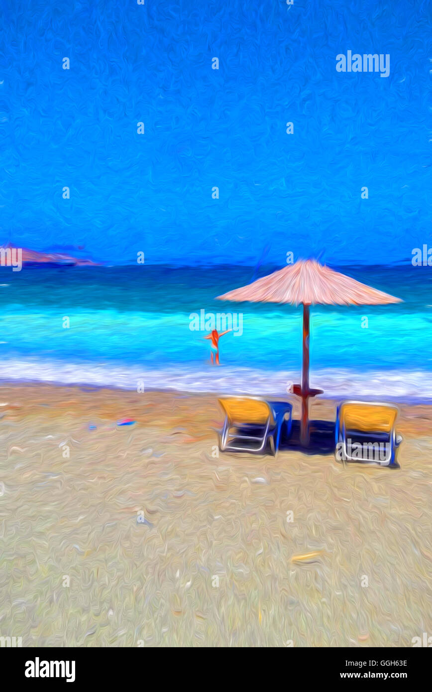 tropical painted furniture mexican style girl with chairs and umbrella on beautiful tropical beach painting effect stock