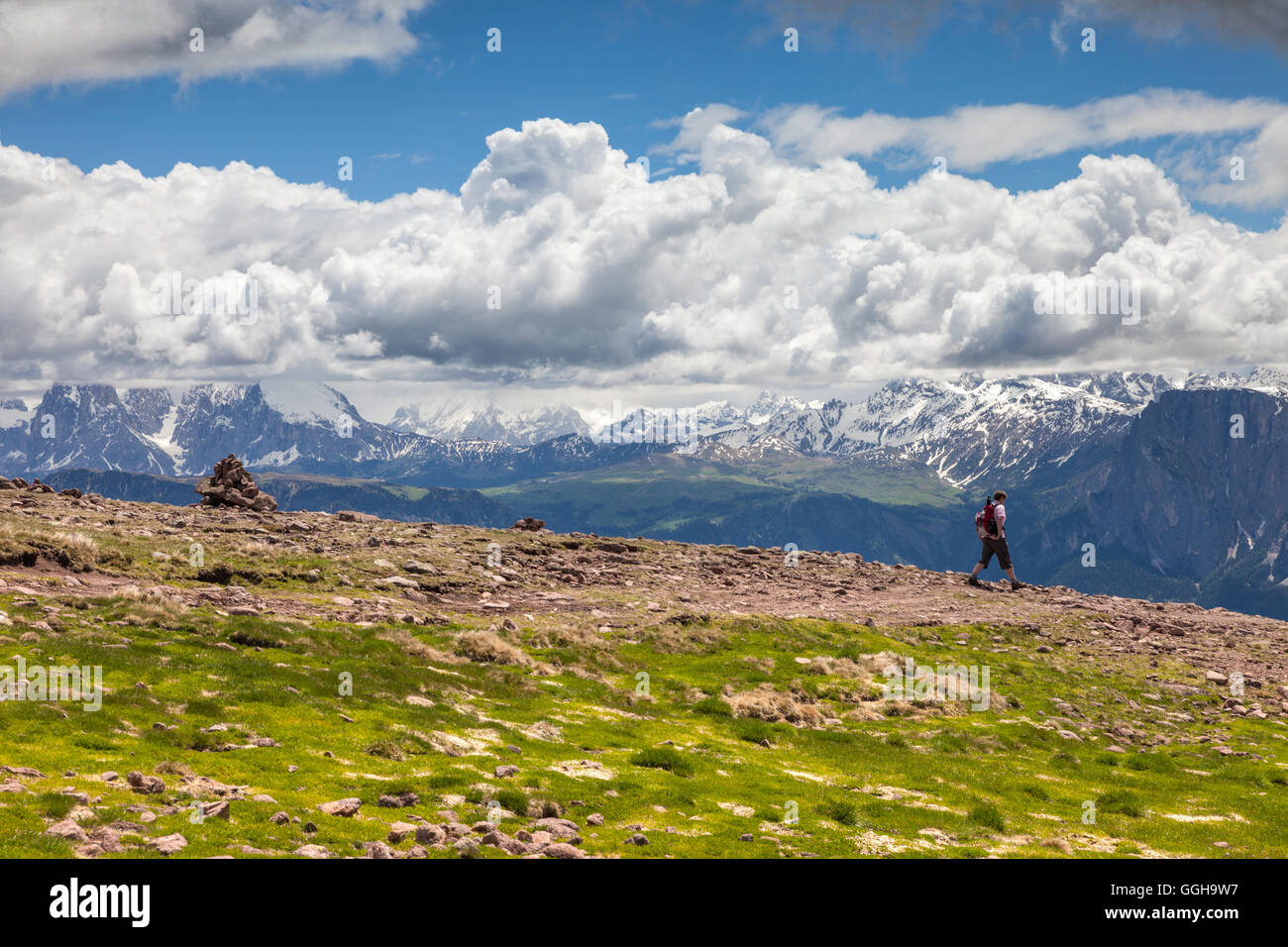 geography / travel, Italy, South Tyrol, promotion the Schwarzseespitze (peak)to the Rittner horn (2260 m), ride, - Stock Image