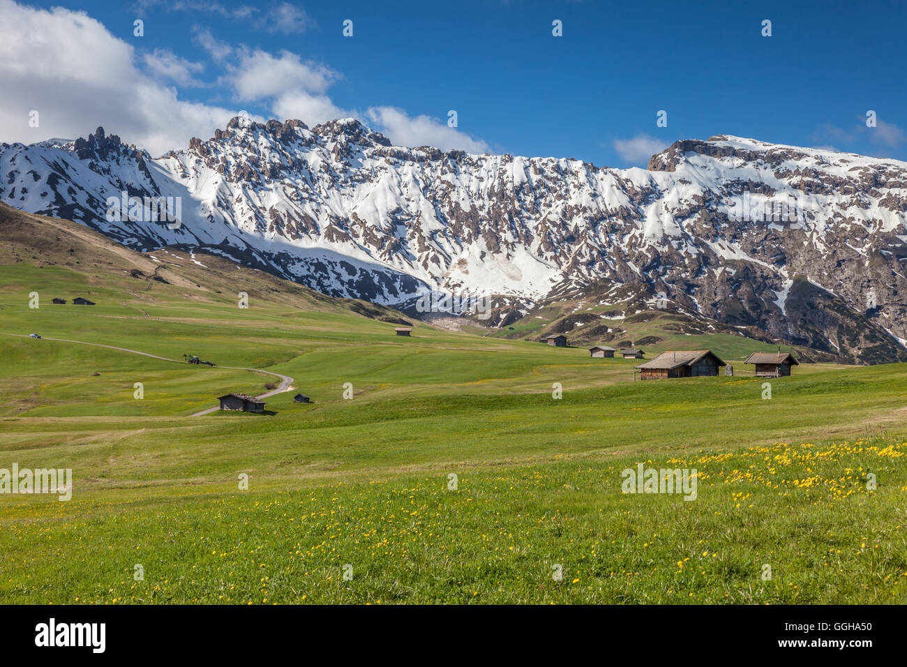 geography / travel, Italy, South Tyrol, Alm and alpine hut on the Seiser mountain pasture, Additional-Rights-Clearance Stock Photo