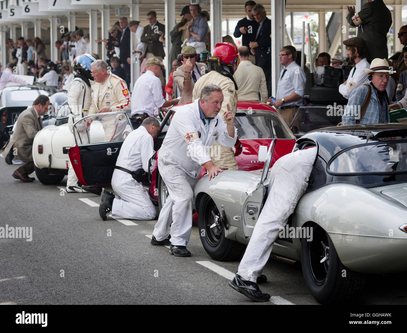 Driver change at the pit lane, RAC TT Celebration, Goodwood Revival 2014, Racing Sport, Classic Car, Goodwood, Chichester, - Stock Image