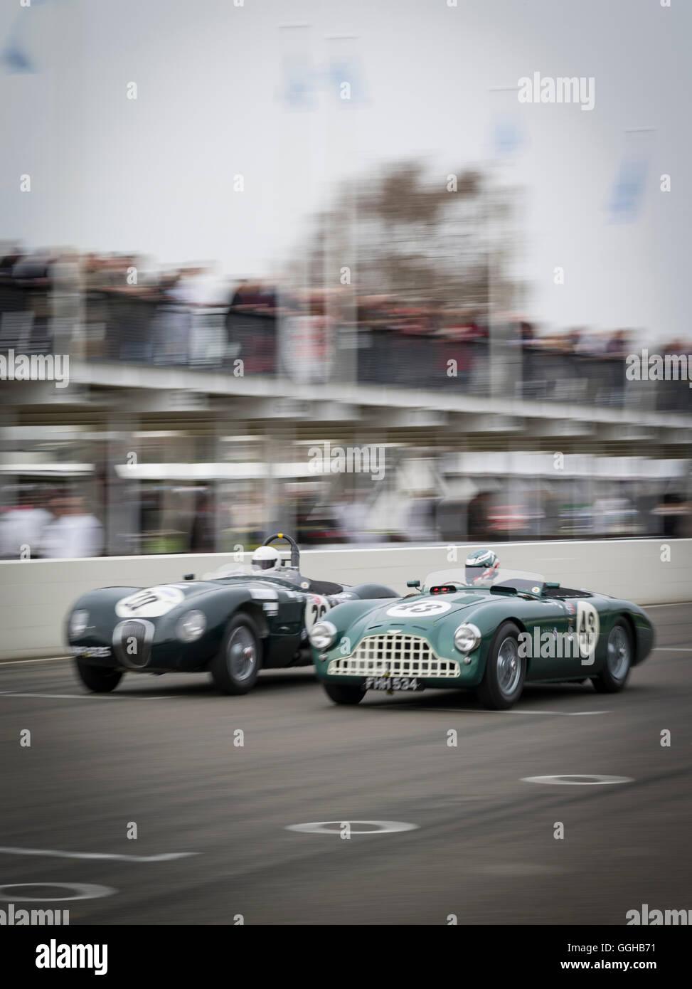 Jaguar C-Type (L) and Aston Martin DB3, Peter Collins Trophy, 72nd Members Meeting, racing, car racing, classic - Stock Image