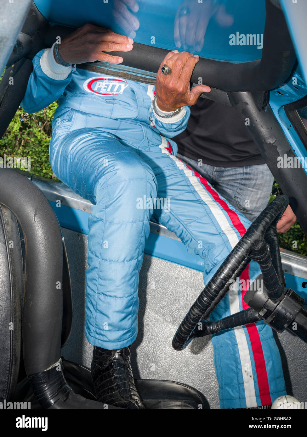 Richard Petty, winner in 200 NASCAR races in the USA, Goodwood Festival of Speed 2014, racing, car racing, classic - Stock Image
