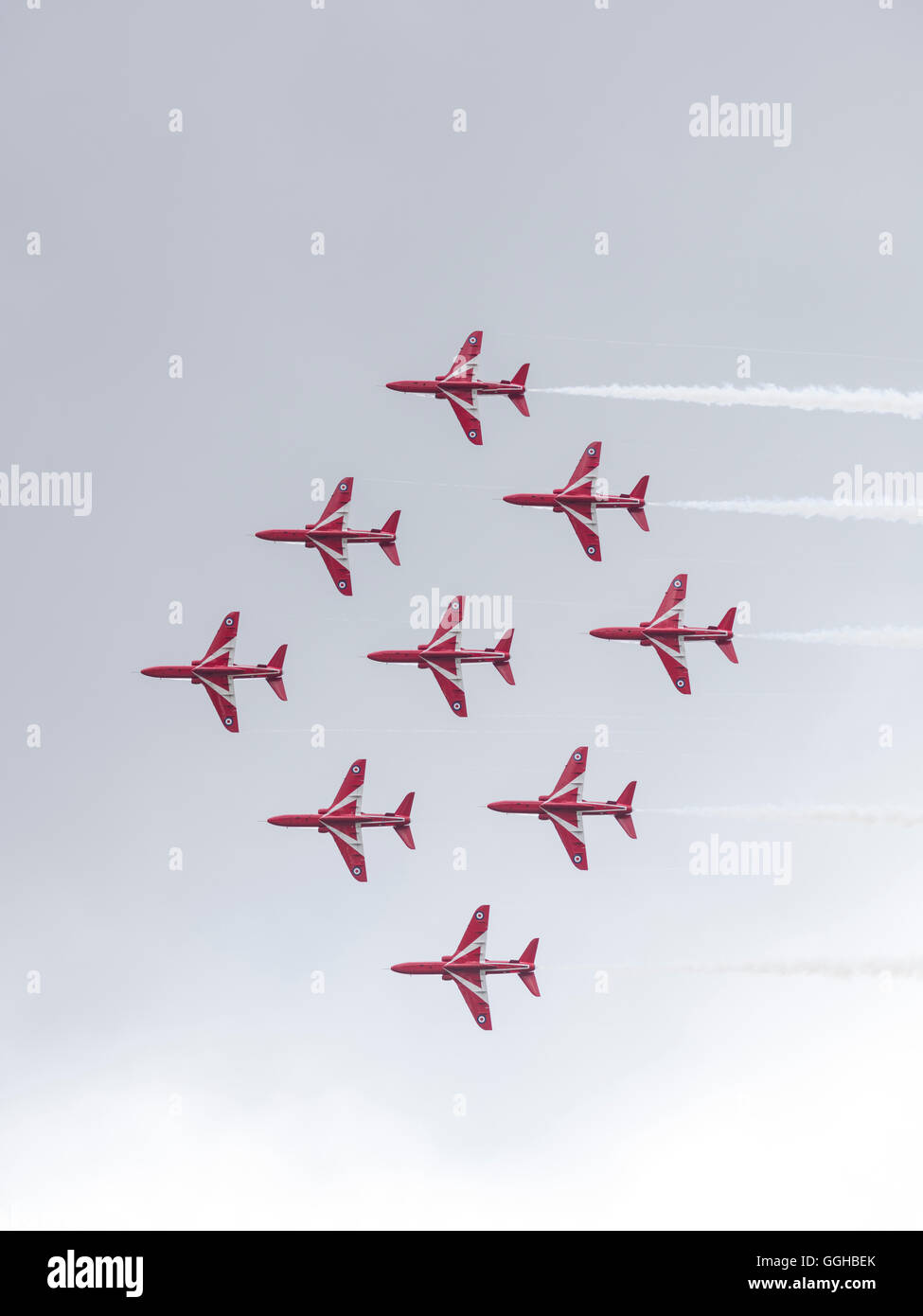 Royal Air Force, aerobatic team Red Arrows, Goodwood Festival of Speed 2014, racing, car racing, classic car, Chichester, Stock Photo