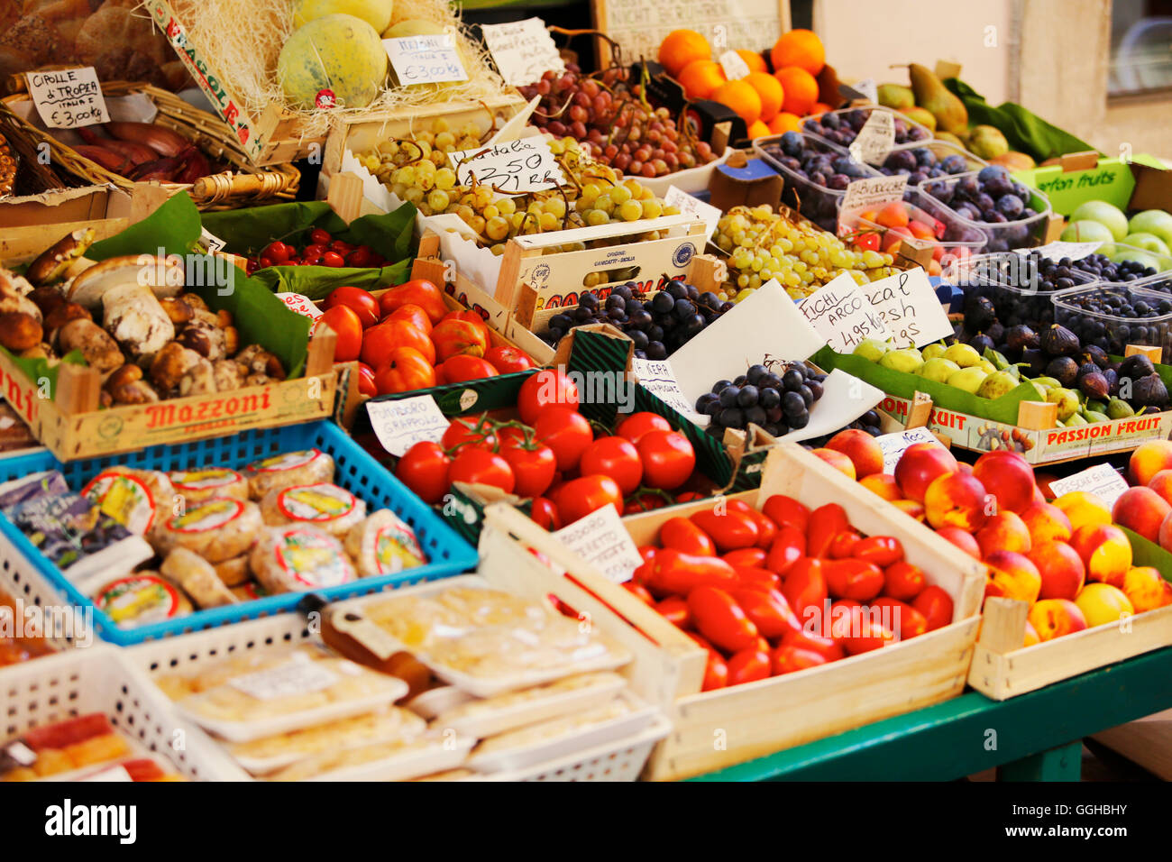 Greengrocery in the old town, Arco, Trentino-Alto Adige, Italy - Stock Image