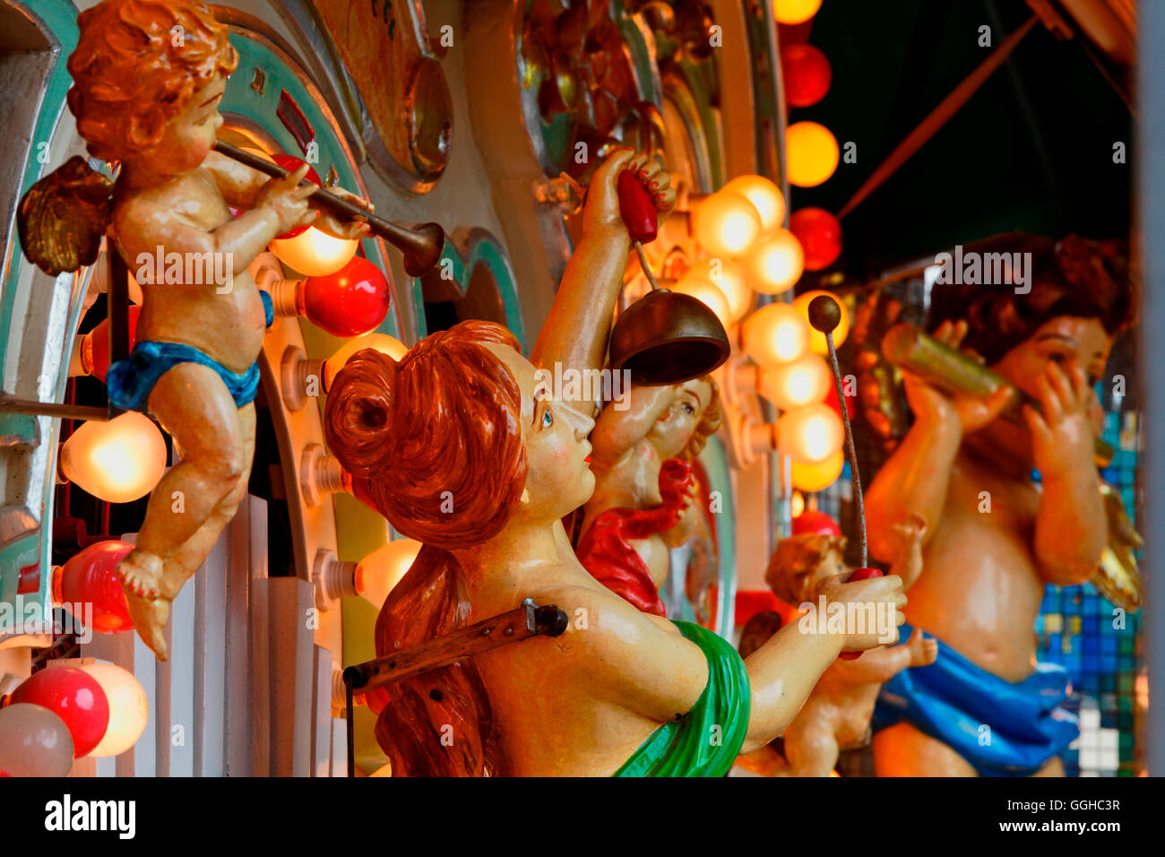 Detail of a fairground organ at the Auer Dult market, Au, Munich, Upper Bavaria, Bavaria, Germany - Stock Image