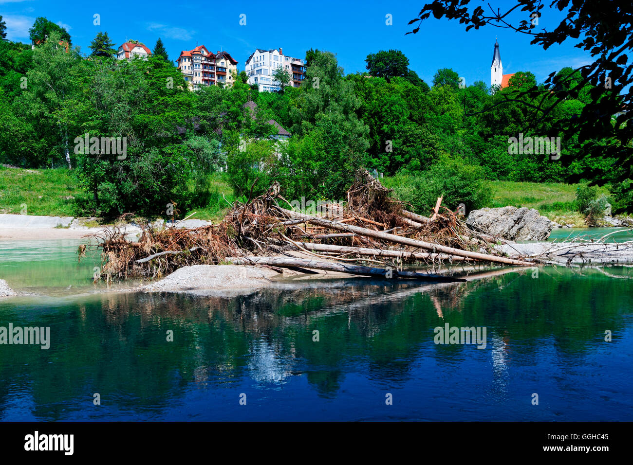 Piles of driftwood on the river Isar, Pullach, Munich, Upper Bavaria, Bavaria, Germany - Stock Image