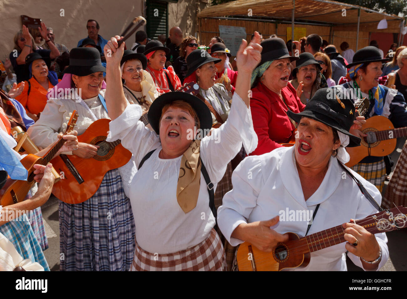 Folk music at the festival of almond blossom, Fiesta del Almendrero en Flor, Valsequillo, near Telde, Gran Canaria, - Stock Image