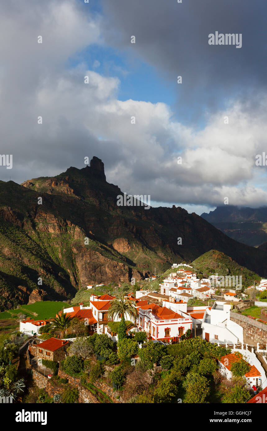 Tejeda village and Roque Bentayga, Parque Rural del Nublo, Natural Preserve, mountains, UNESCO Biosphere Reserve, Stock Photo