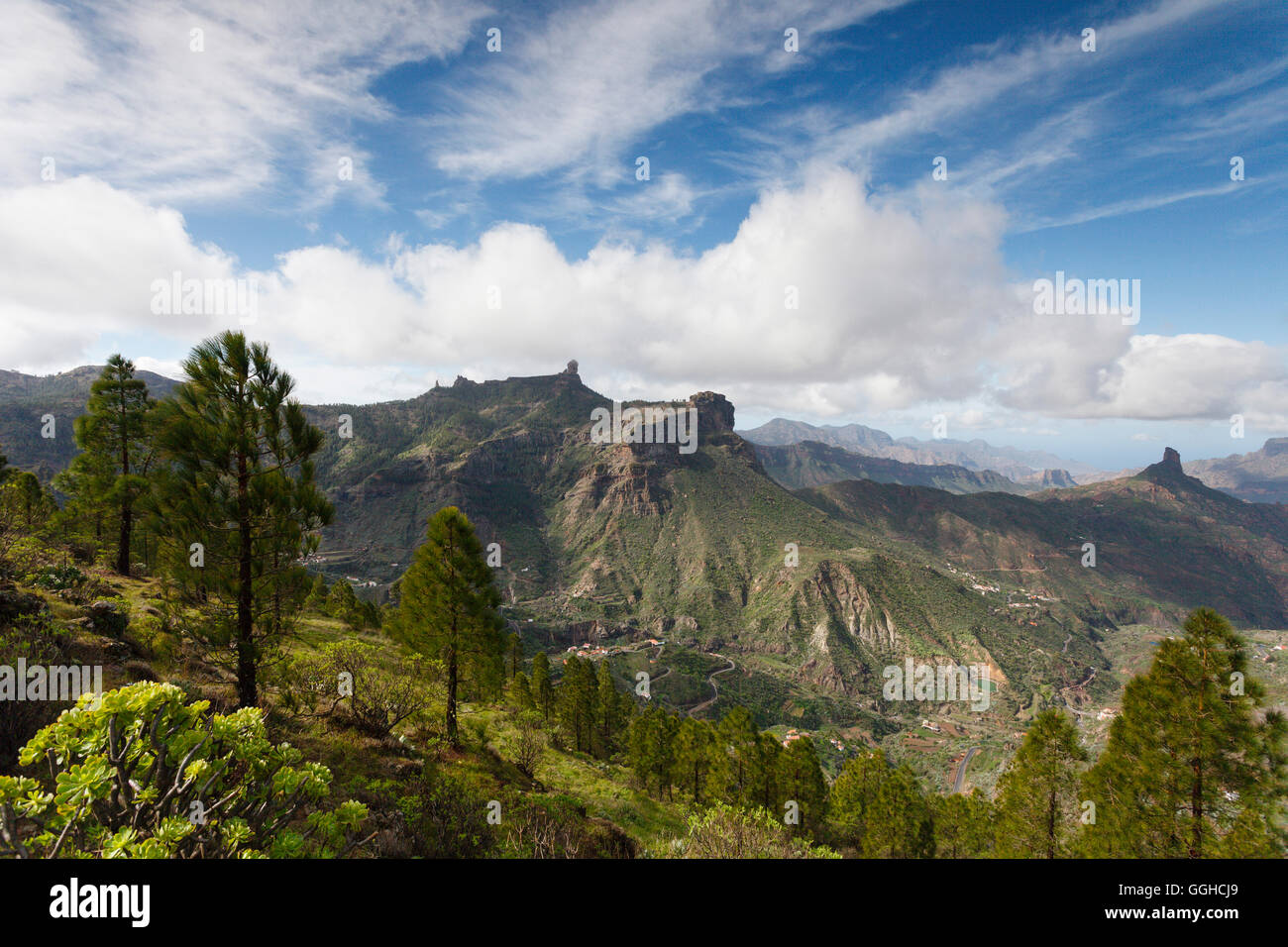 Roque Nublo, volcanic rock, landmark, and Roque Bentayga, Parque Rural del Nublo, Natural Preserve, mountains, UNESCO - Stock Image